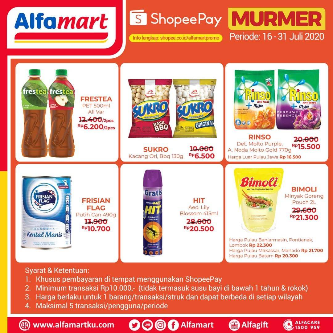 Diskon Katalog Promo Alfamart ShopeePay Periode 16 - 31 Juli 2020