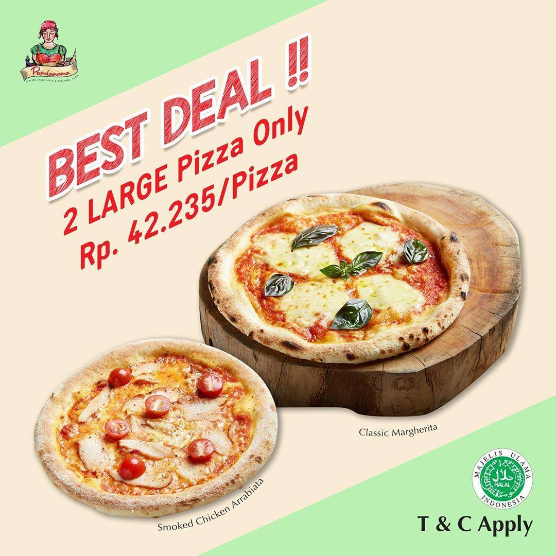 Diskon Promo Popolamama 2 Large Pizza Only For Rp. 99.000