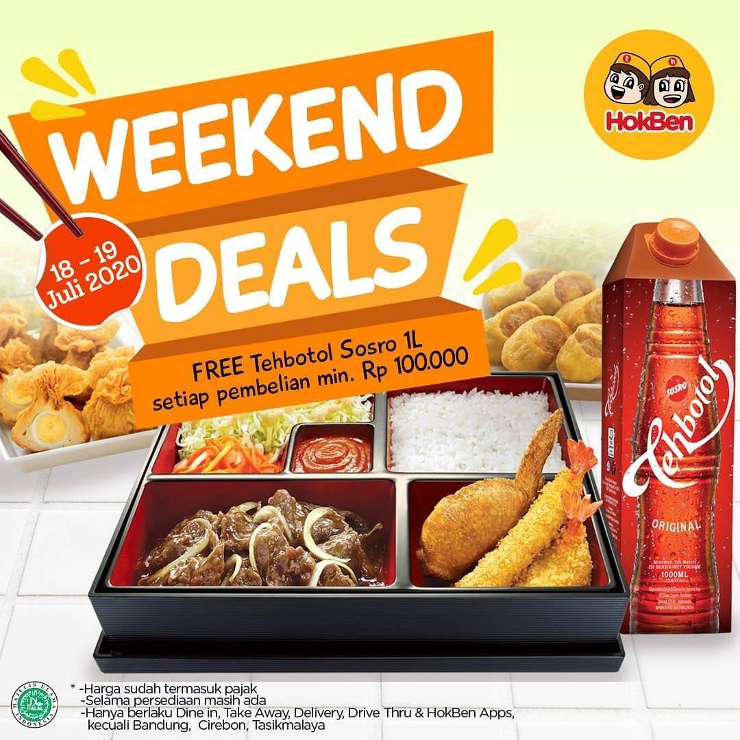 Diskon Promo Hokben Weekend Deals Free Teh Botol Sosro 1L Setiap Minimal Pembelanjaan Rp. 100.000