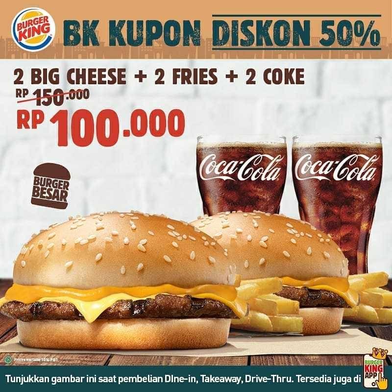 Promo diskon Promo Burger King Kupon Diskon 50%