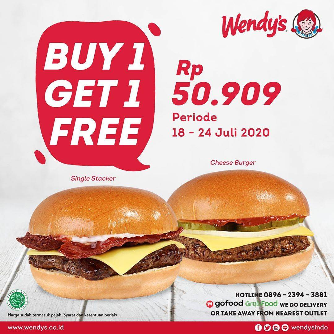 Diskon Promo Wendys Buy 1 Single Stacker Get 1 Free Cheeseburger