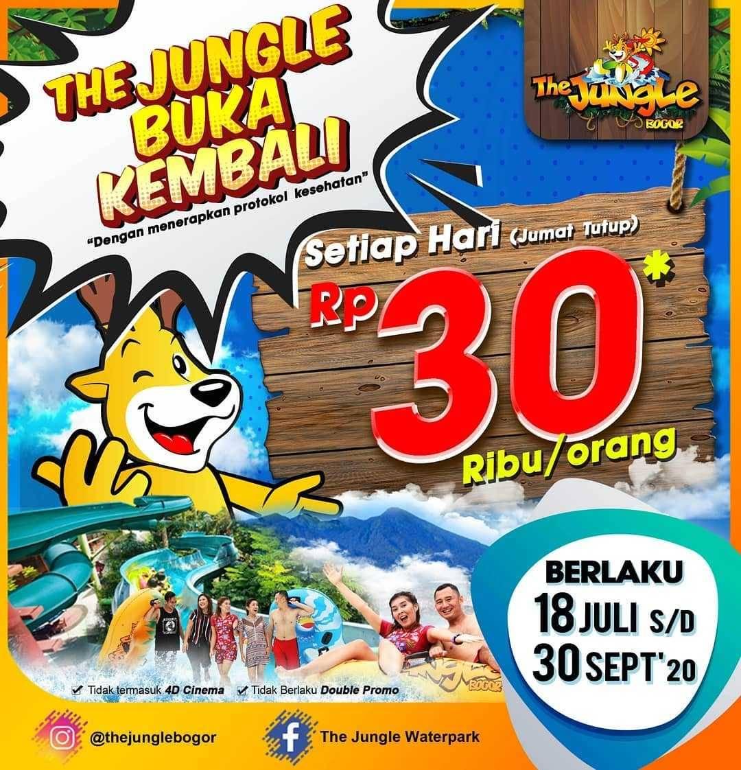Promo diskon Promo The Jungle Waterpark Tiket Masuk Hanya Rp. 30.000/Orang