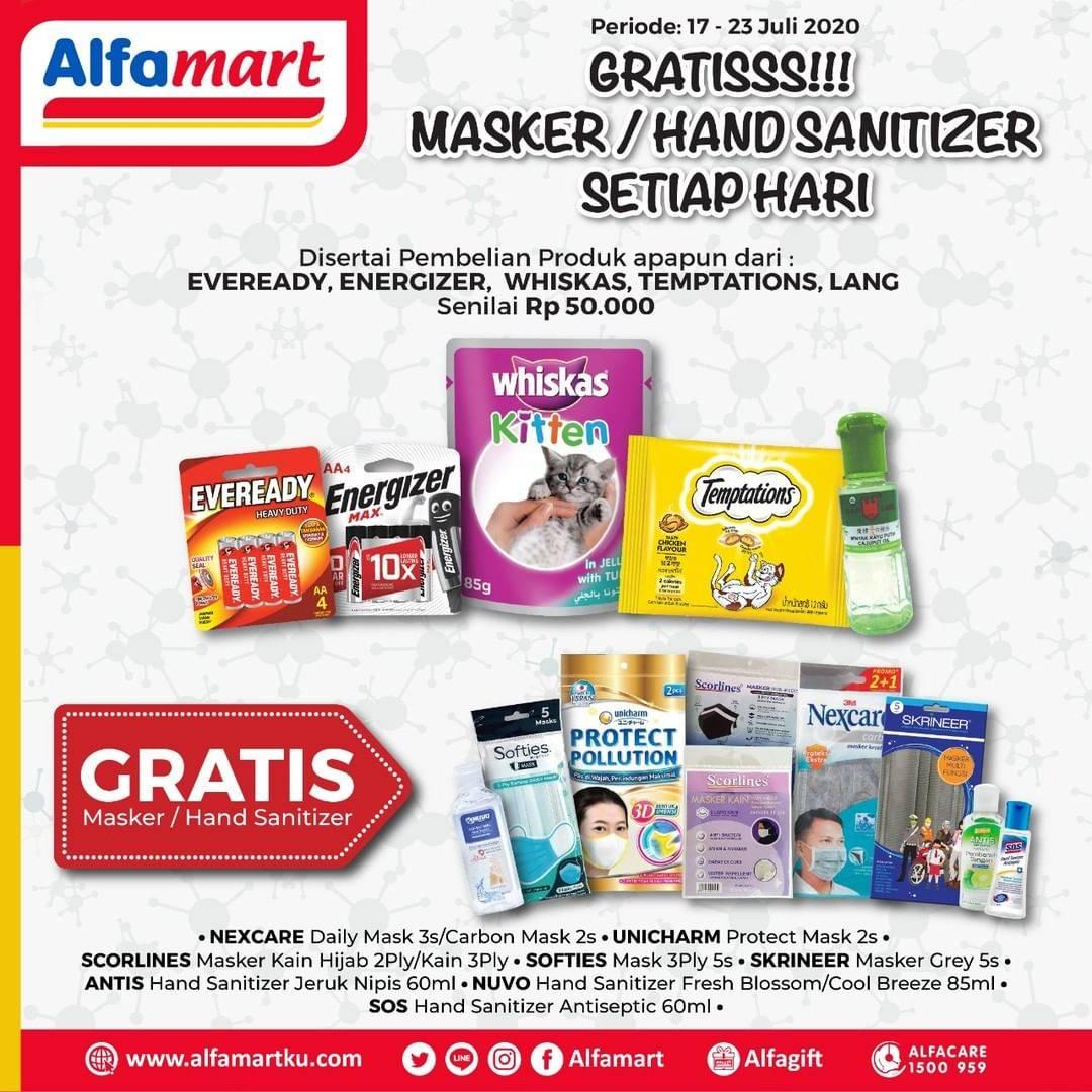 Diskon Katalog Promo Alfamart Gratis Masker Dan Hand Sanitizer Periode 17 - 23 Juli 2020