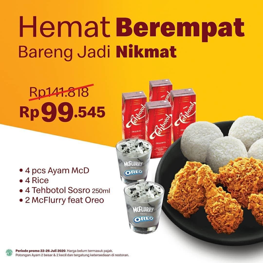 Diskon Promo McDonalds Harga Spesial Paket Hemat Berempat Hanya Rp. 99.545
