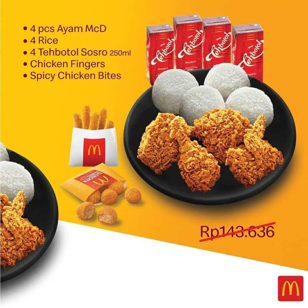 Promo diskon Promo McDonalds Harga Spesial Paket Hemat Berempat Hanya Rp. 99.545