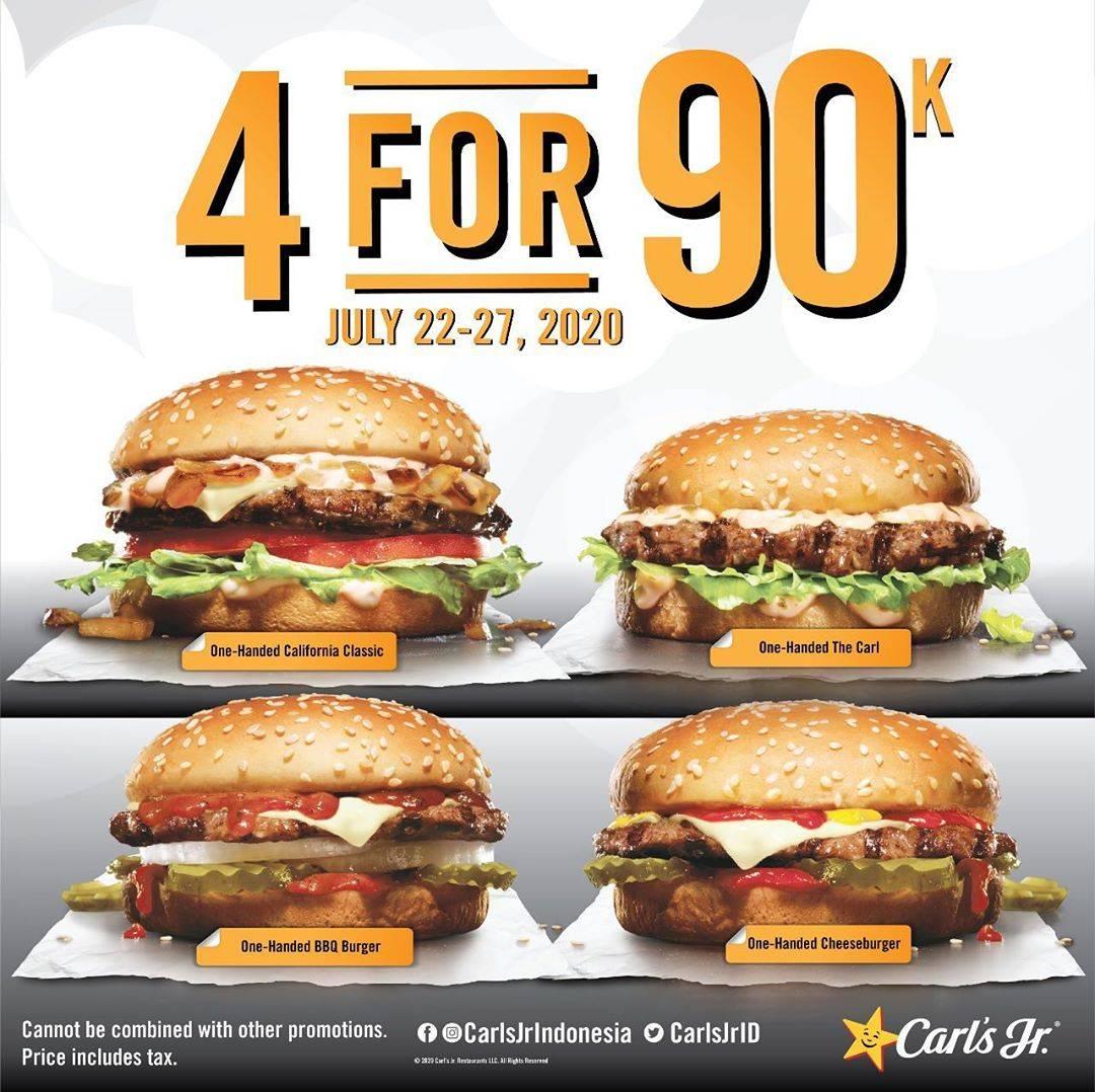 Diskon Promo Carls Jr 4 Juicy Burger Hanya Rp. 90.000 Nett