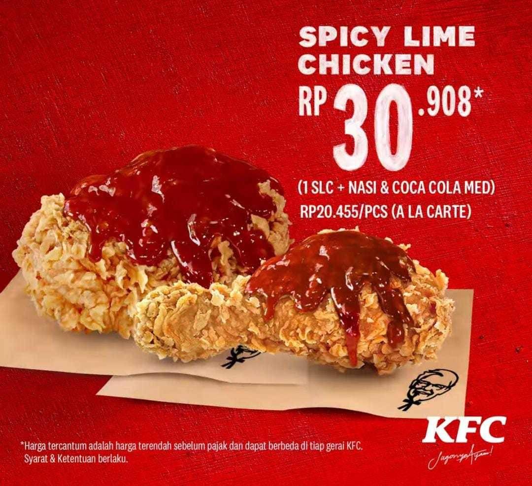Promo diskon Promo KFC Harga Spesial Menu Spicy Lime Sauce Mulai Dari Rp. 16.364