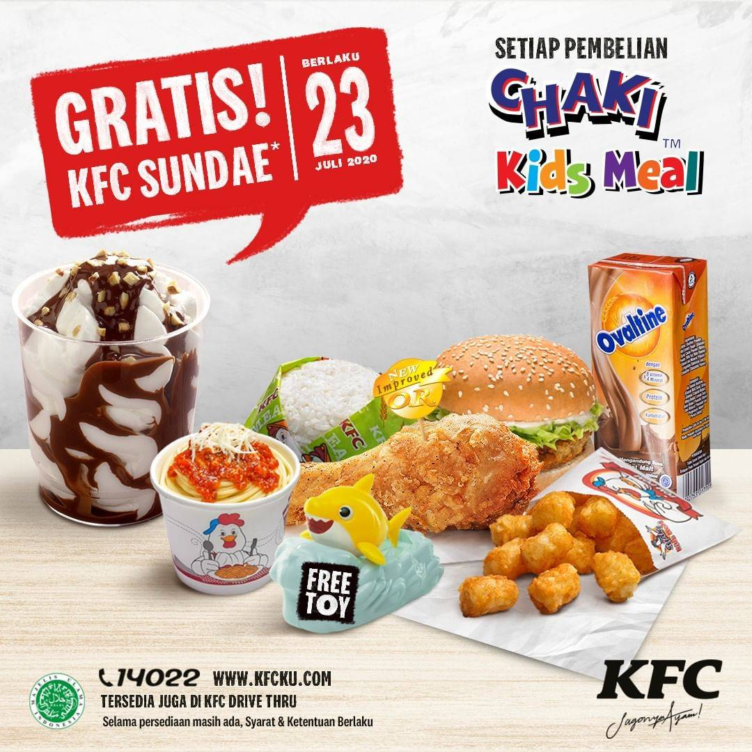 Diskon Promo KFC Gratis Sundae Setiap Pembelian Chaki Kids Meal