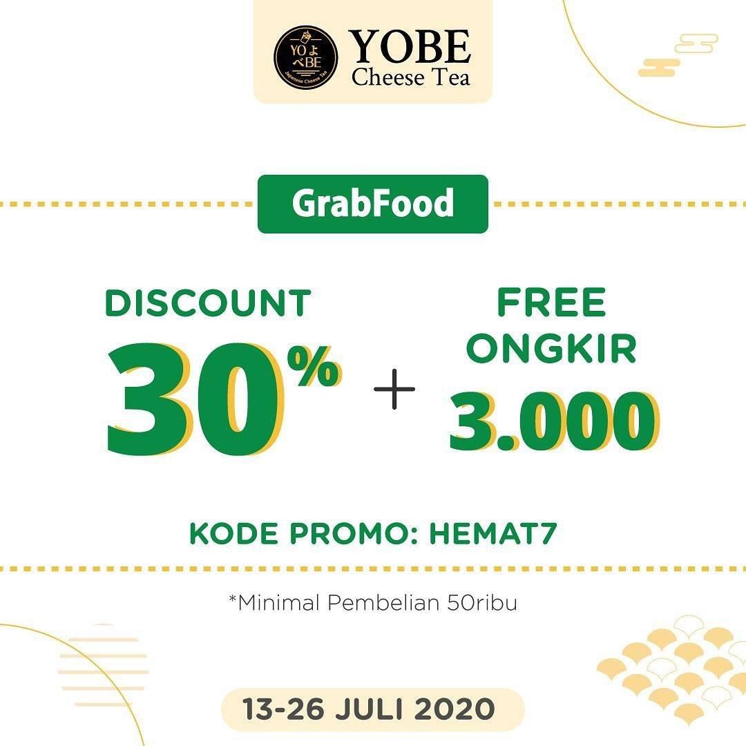 Diskon Promo Yobe Cheese Tea Diskon 30% + Free Ongkir Rp. 3.000 Untuk Pemesanan Melalui GrabFood
