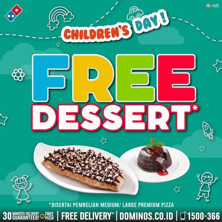 Diskon Promo Domino's Pizza Children's Day Gratis Dessert Favorit