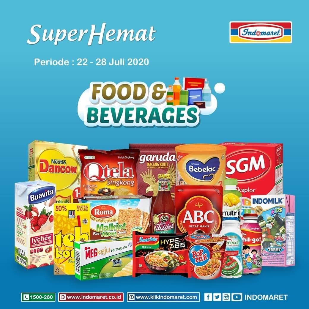 Diskon Katalog Promo Indomaret Super Hemat Food & Beverages (Grocery) Periode 22 - 28 Juli 2020
