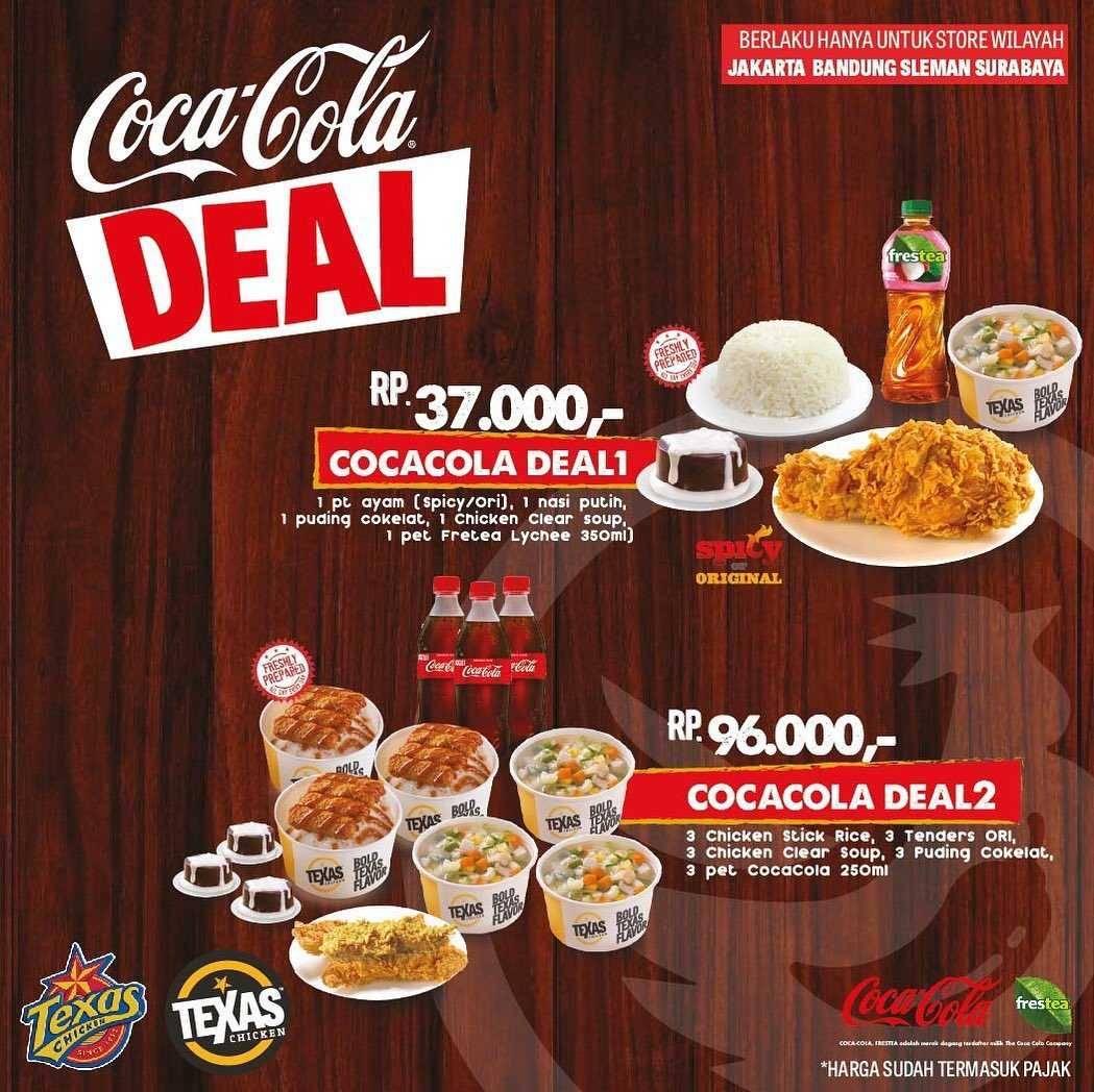 Promo diskon Promo Texas Chicken Coca Cola Deal Paket Spesial Dengan Harga Mulai Dari Rp. 37.000