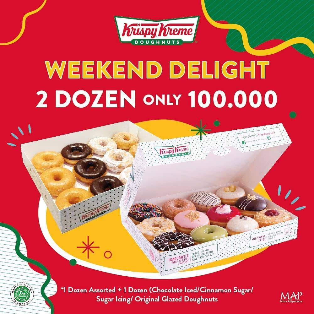 Diskon Promo Krispy Kreme Weekend Delight 2 Dozen Doughnuts Only For IDR. 100.000