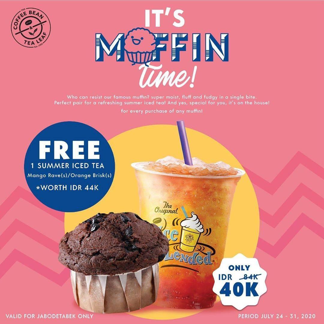 Diskon Promo The Coffee Bean & Tea Leaf Buy 1 Muffin Get 1 Free Summer Iced Tea