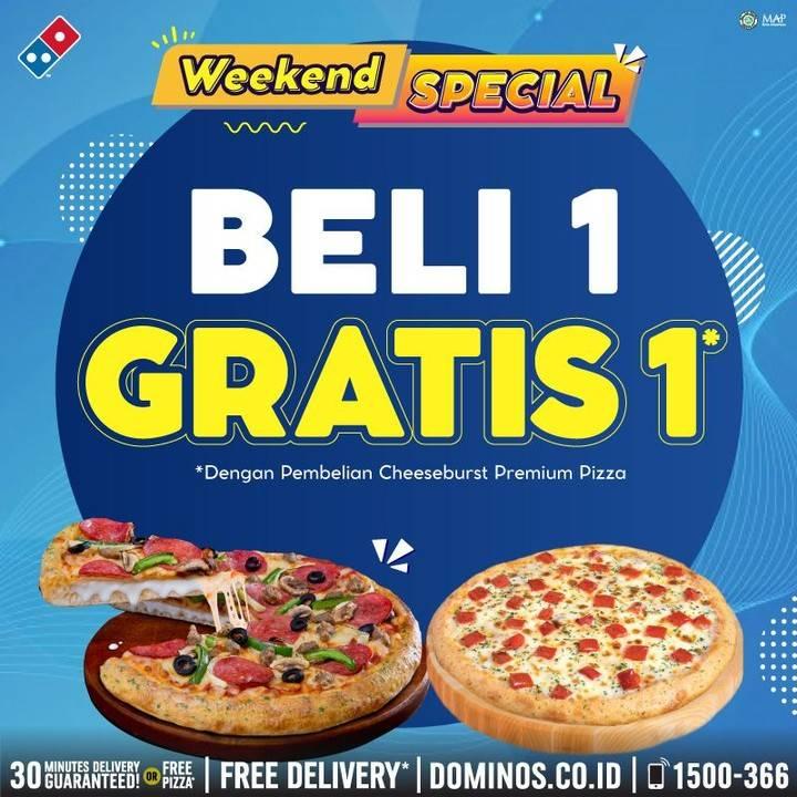 Diskon Promo Domino's Pizza Weekend Special Beli 1 Gratis 1 Pizza