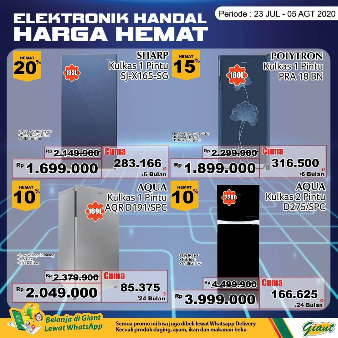 Diskon Katalog Promo Giant Elektronik Hemat Periode 23 Juli - 5 Agustus 2020