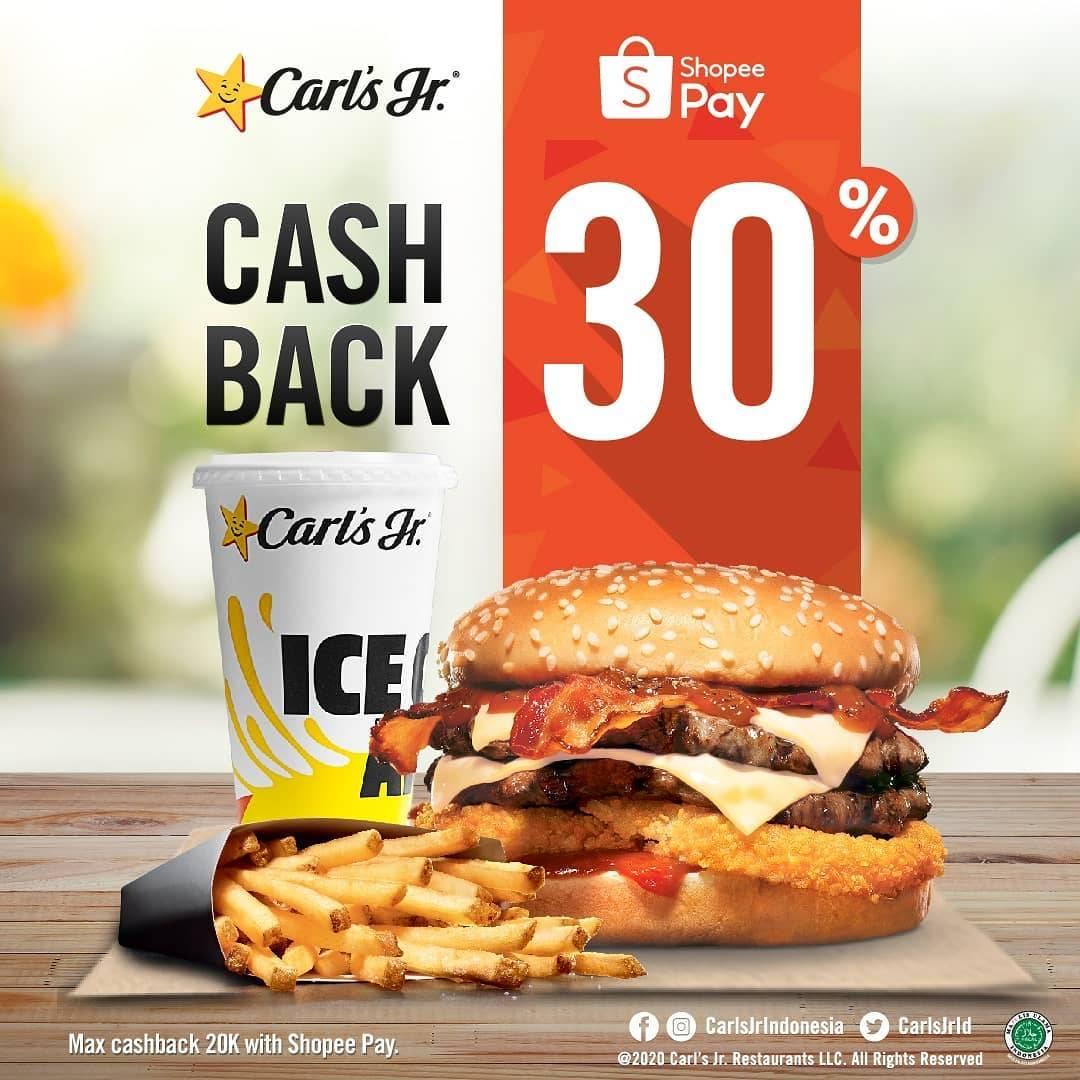 Diskon Promo Carls Jr Cashback 30% Untuk Transaksi Menggunakan ShopeePay