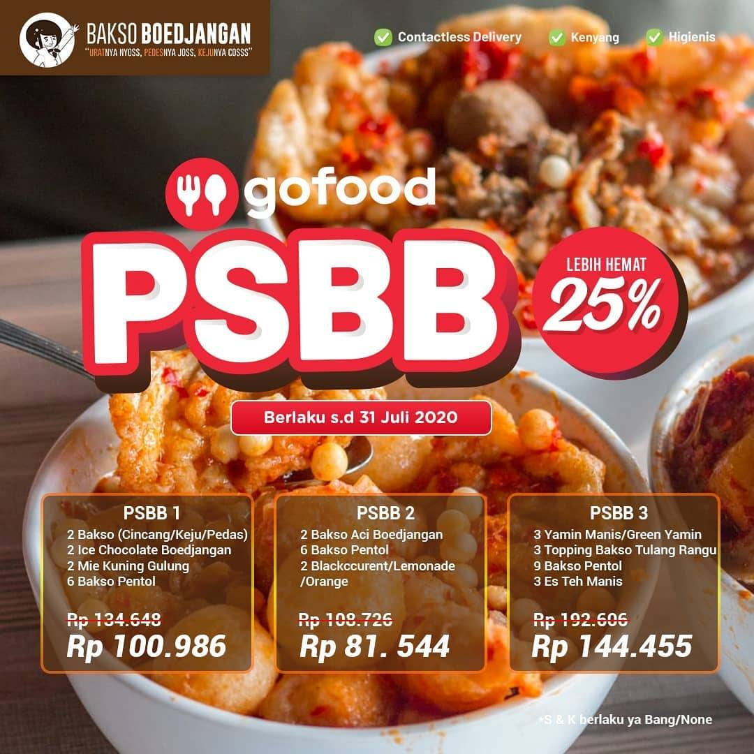 Diskon Promo PSBB Bakso Boedjangan Diskon 25% Untuk Pemesanan Melalui GoFood