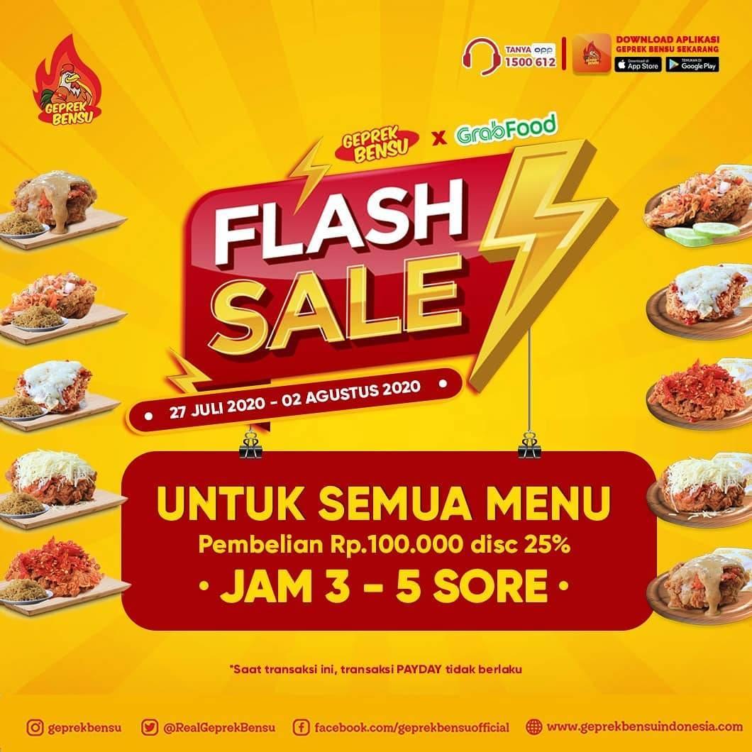 Diskon Promo Geprek Bensu Flash Sale 25% Setiap Minimal Pembelian Rp. 100.000
