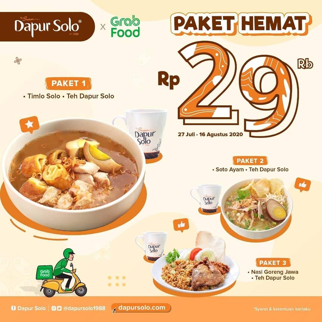Diskon Promo Dapur Solo Paket Hemat Dengan Harga Rp. 29.000 Untuk Pemesanan Melalui GrabFood