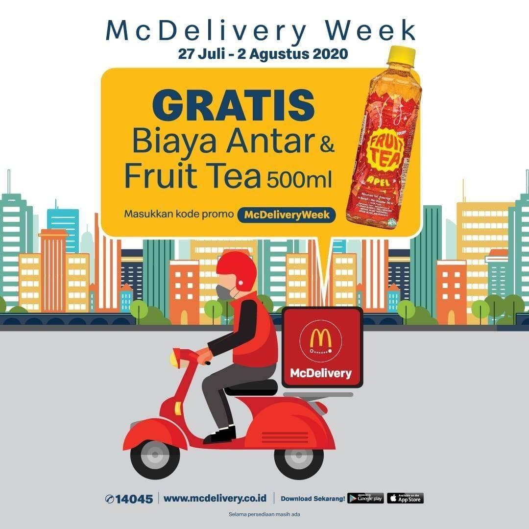 Diskon Promo McDonalds Gratis Biaya Antar & Friut Tea 500ml Melalui McDelivery