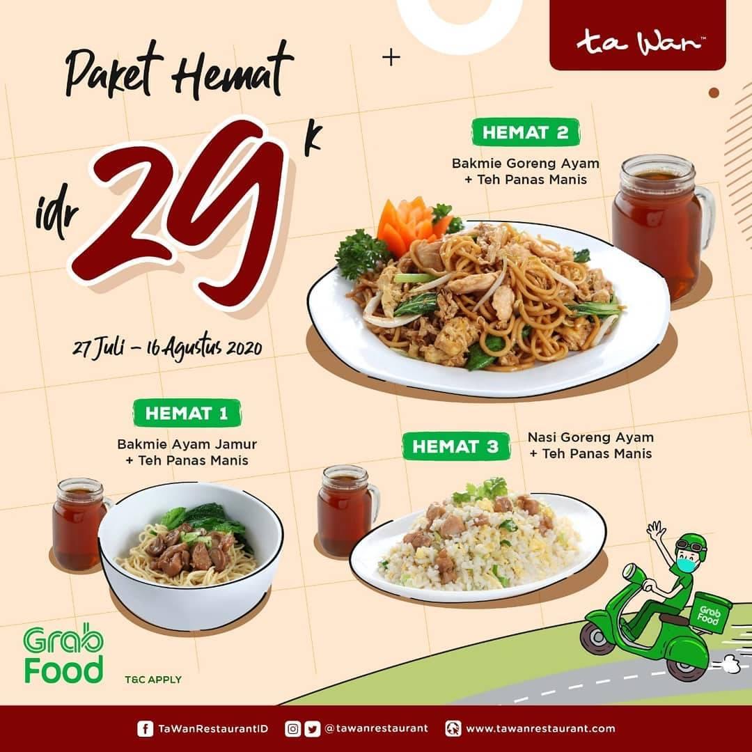 Diskon Promo Ta Wan Restaurant Paket Hemat Rp. 29.000 Untuk Pemesanan Melalui GrabFood