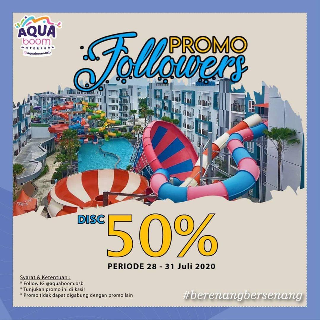 Diskon Promo Aquaboom Diskon 50% Untuk Followers
