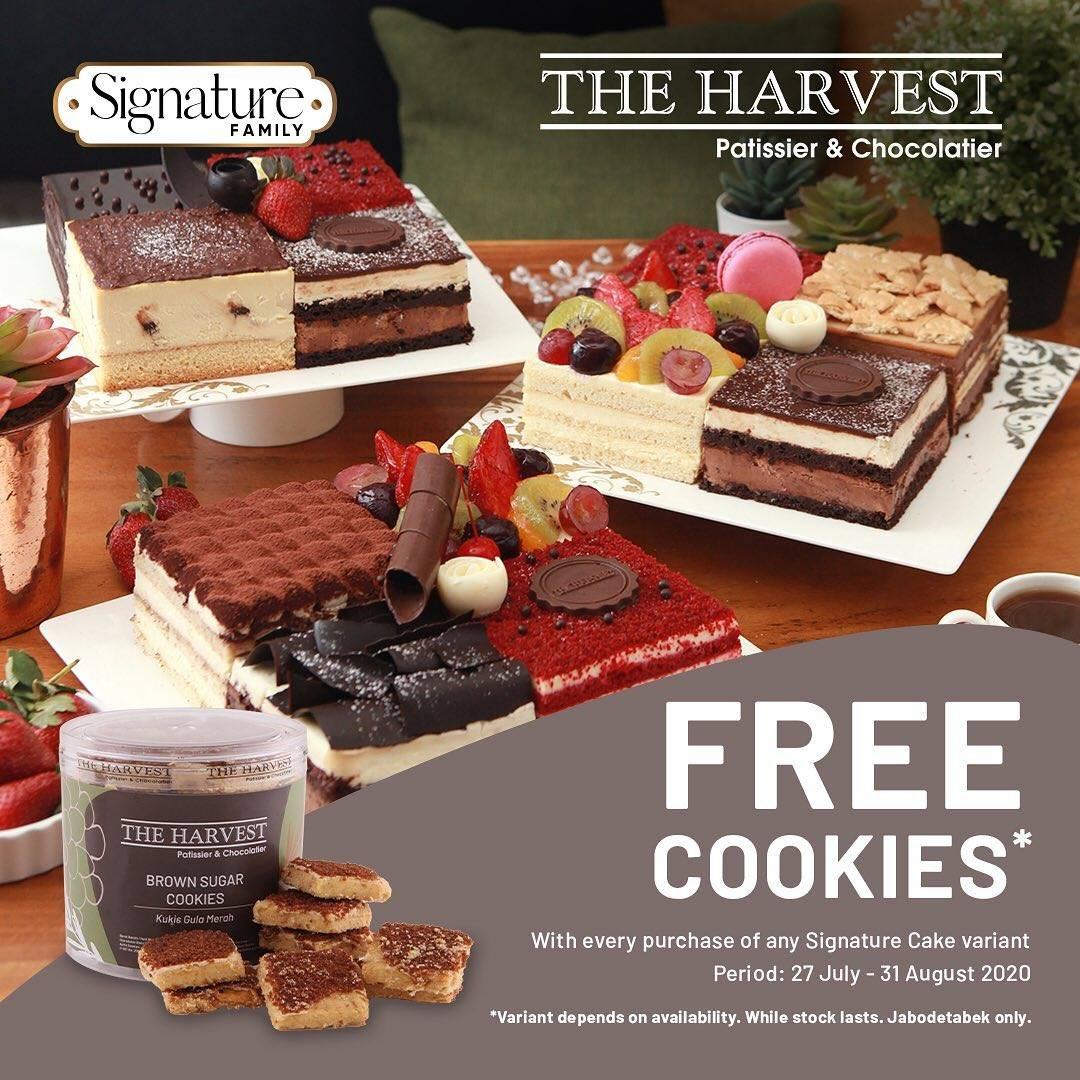 Diskon The Harvest Promo Gratis Cookies setiap pembelian varian Signature Cake