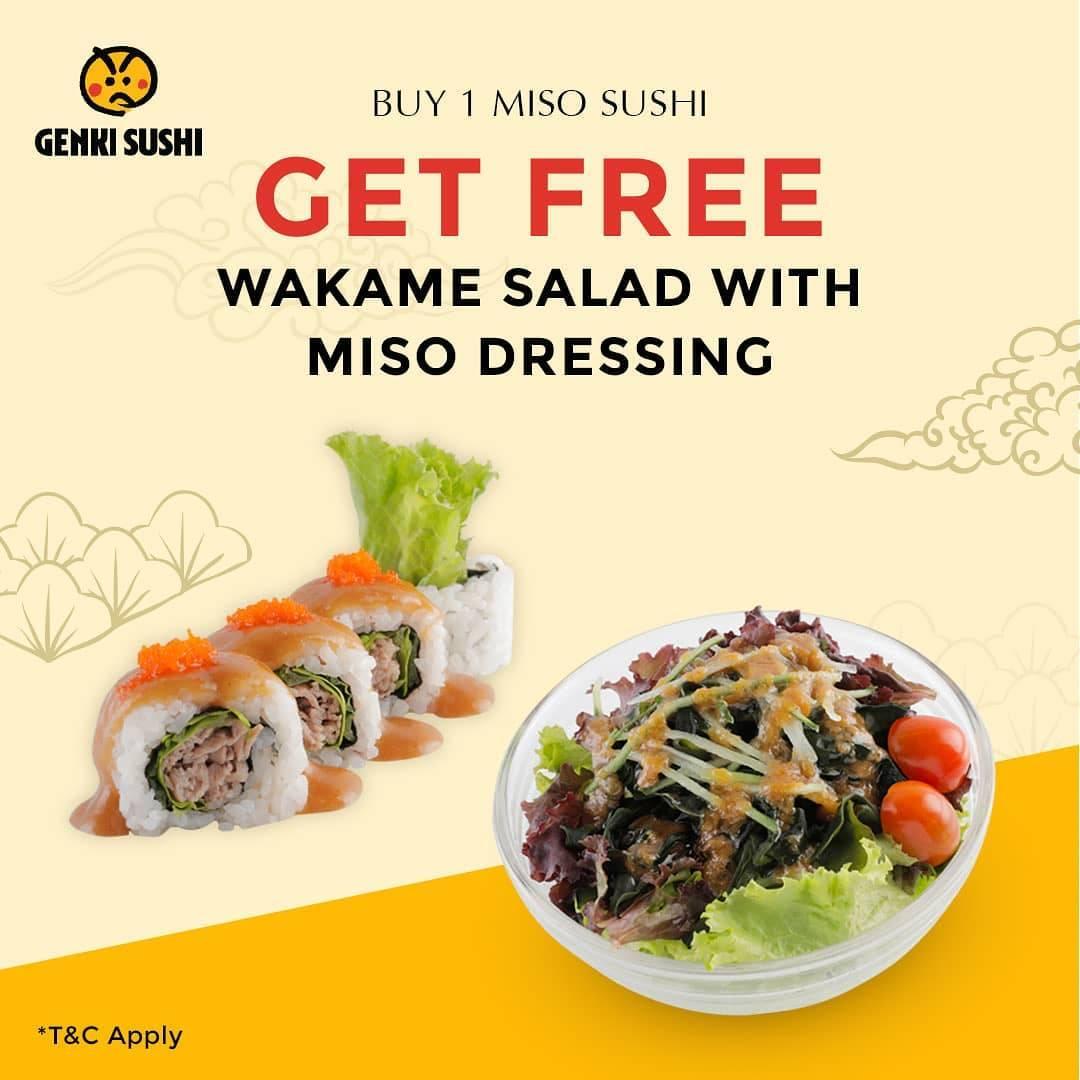 Diskon Promo Genki Sushi Gratis Wakame Salad Miso Dressing