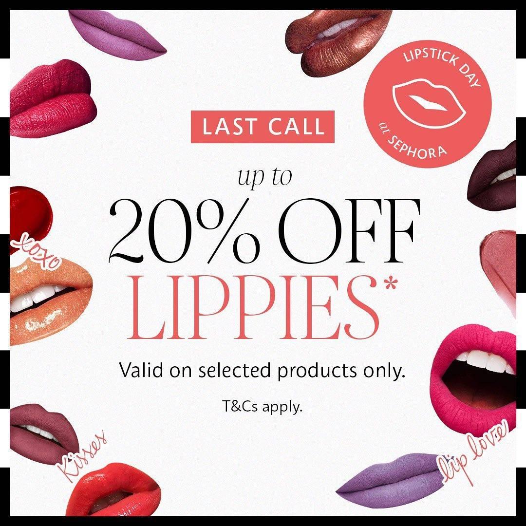 Diskon Sephora Promo Discount Up To 20% Off Lipstick