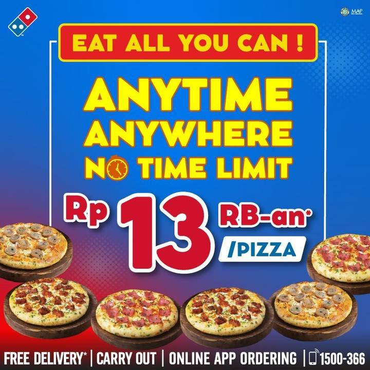 Diskon Promo Domino's Pizza Eat All You Can Harga Spesial Rp. 13Ribuan/ Pizza