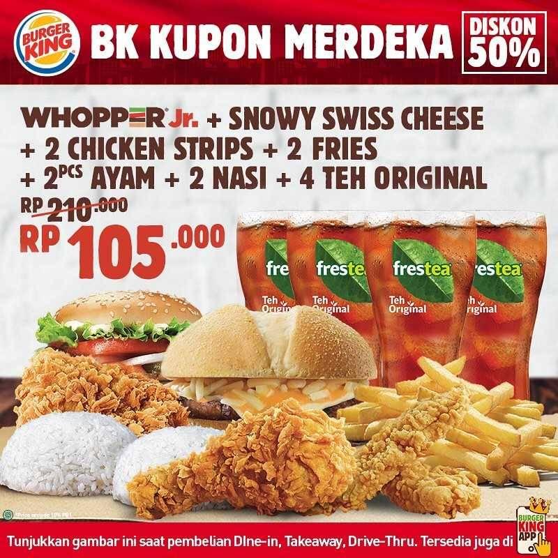 Promo diskon Promo Burger King Kupon Merdeka Diskon 50% Untuk Menu Favorit