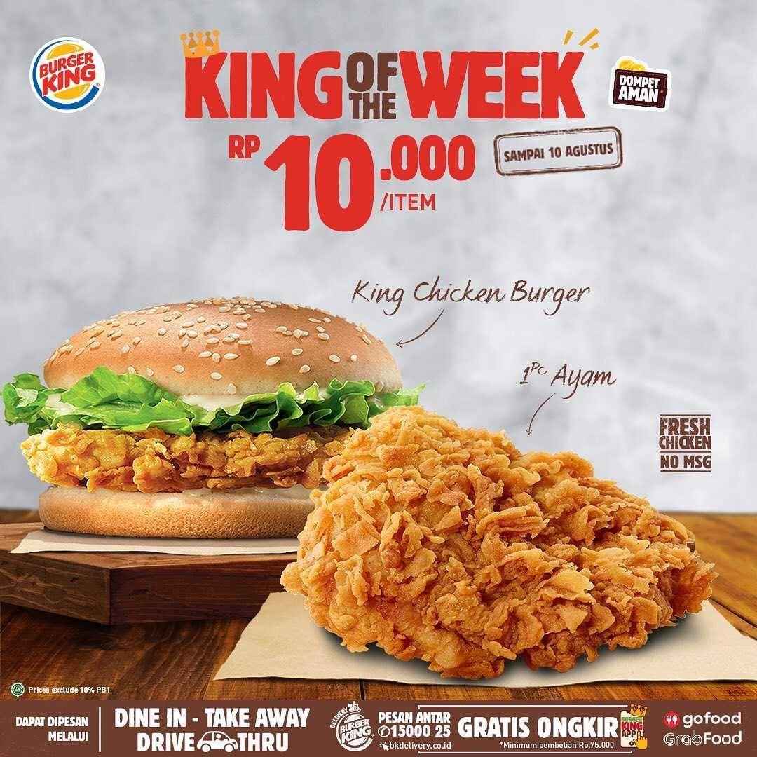 Promo diskon Promo Burger King King Of The Week Harga Dimulai Dari Rp. 5.000