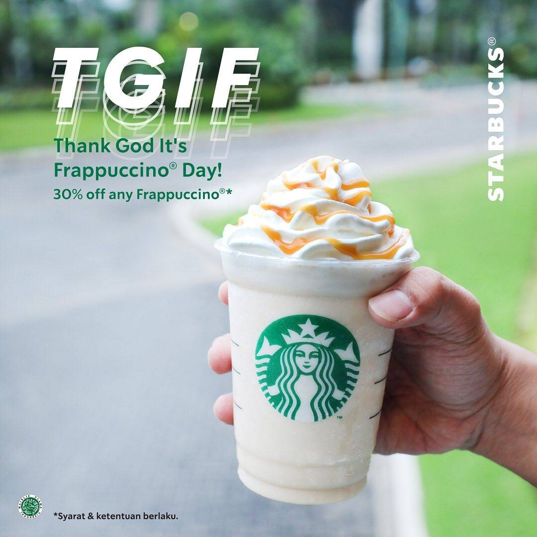 Diskon Promo Starbucks Thank's God It's Frappucino Day Diskon 30% Untuk Varian Frappucino