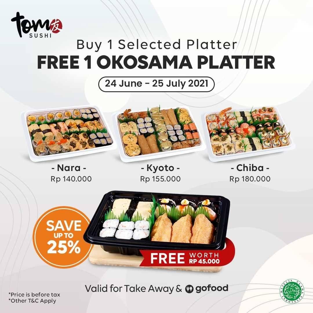 Diskon Tom Sushi Buy 1 Selected Platter Get 1 Free Okosama Platter On GoFood