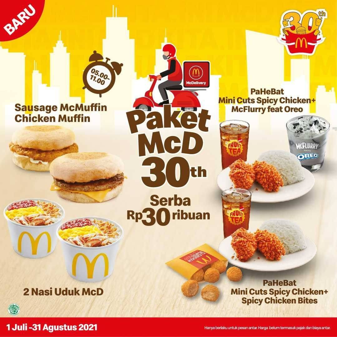 Diskon McDonalds Promo Paket McD 30th Menu Serba Rp. 30Ribuan