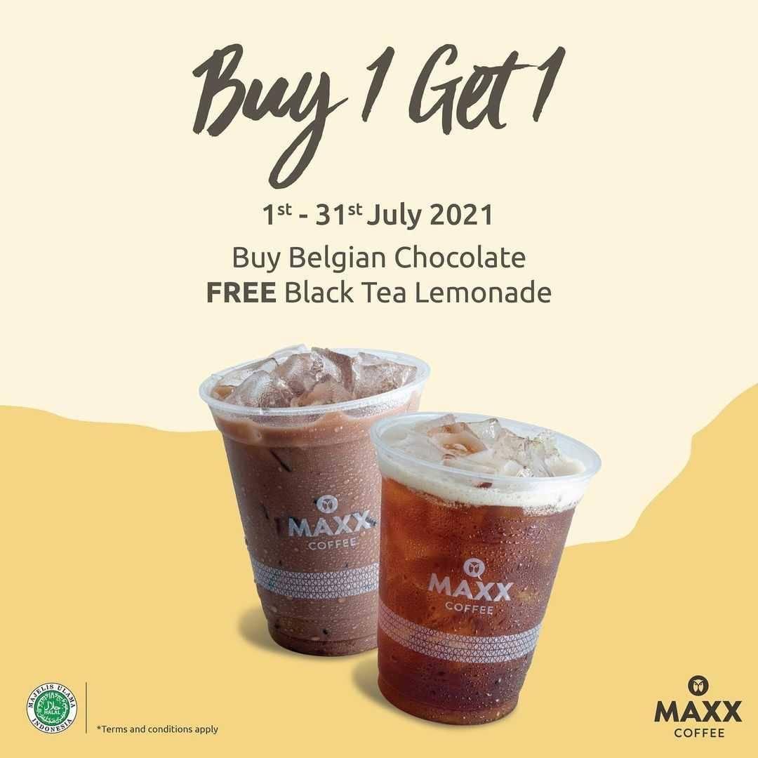 Promo diskon Maxx Coffee Buy 1 Get 1 Free Beverages