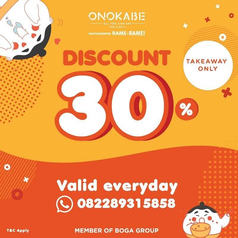 Diskon Onokabe Promo TakeAway Discount 30% Off