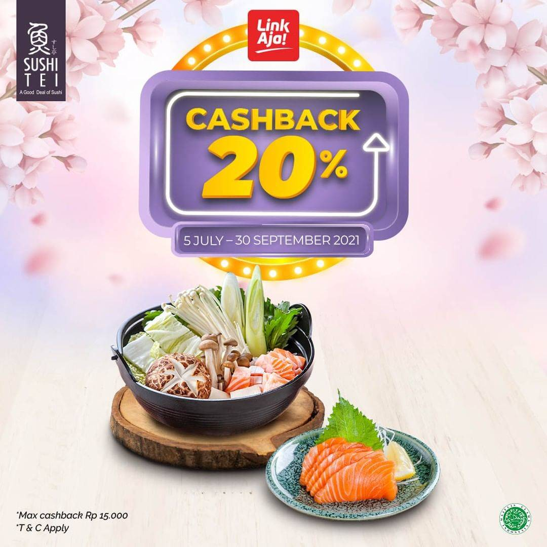 Diskon Sushi Tei Cashback 20% Dengan Link Aja