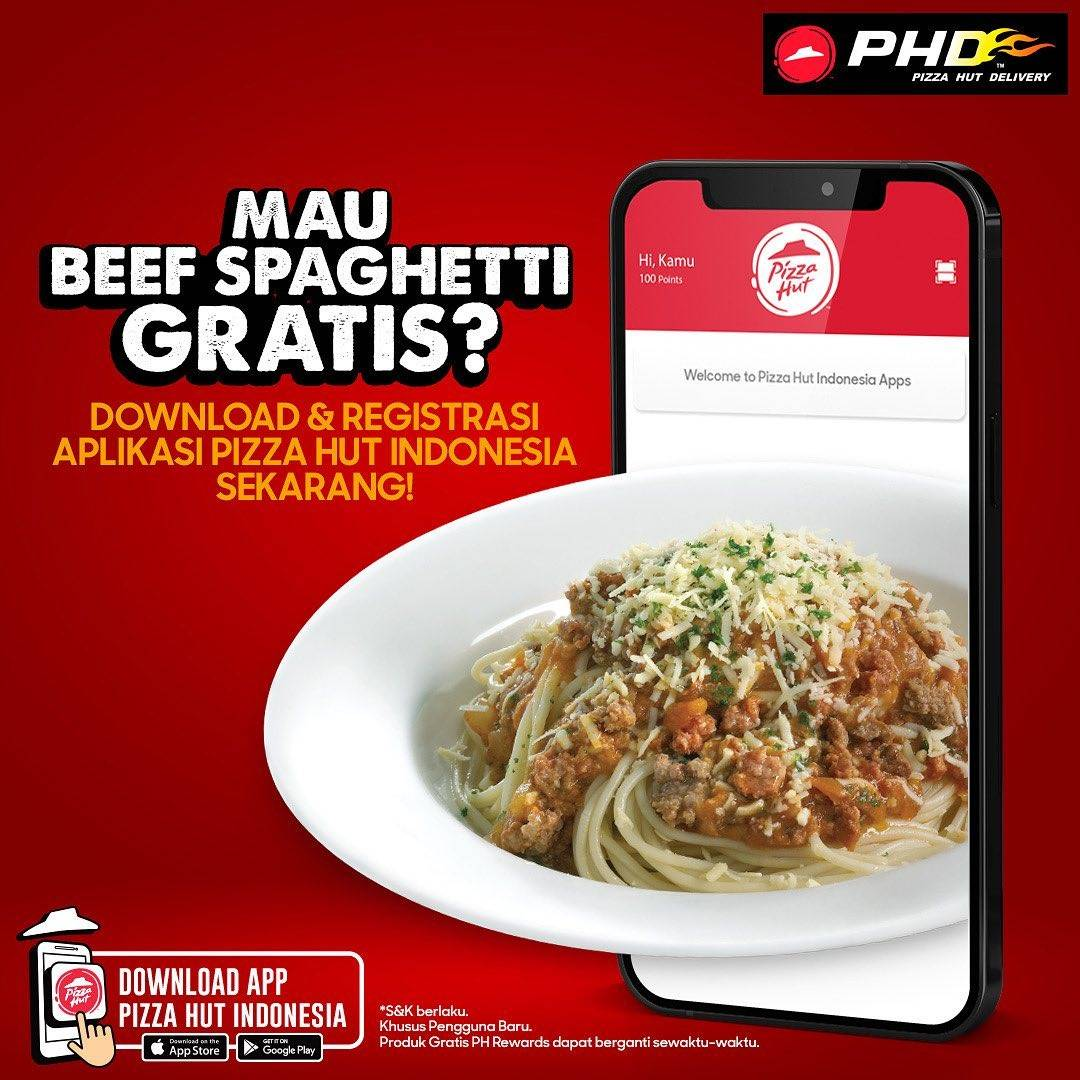 Diskon PHD Gratis Beef Spaghetti Setiap Pengguna Baru PHD App