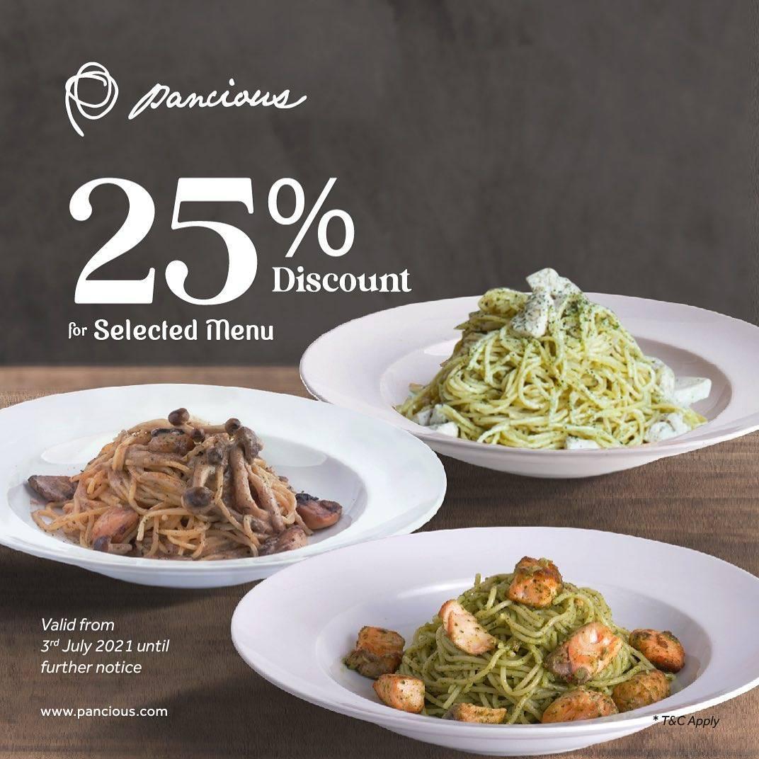 Diskon Pancious Discount 25% Off For Selected Menu