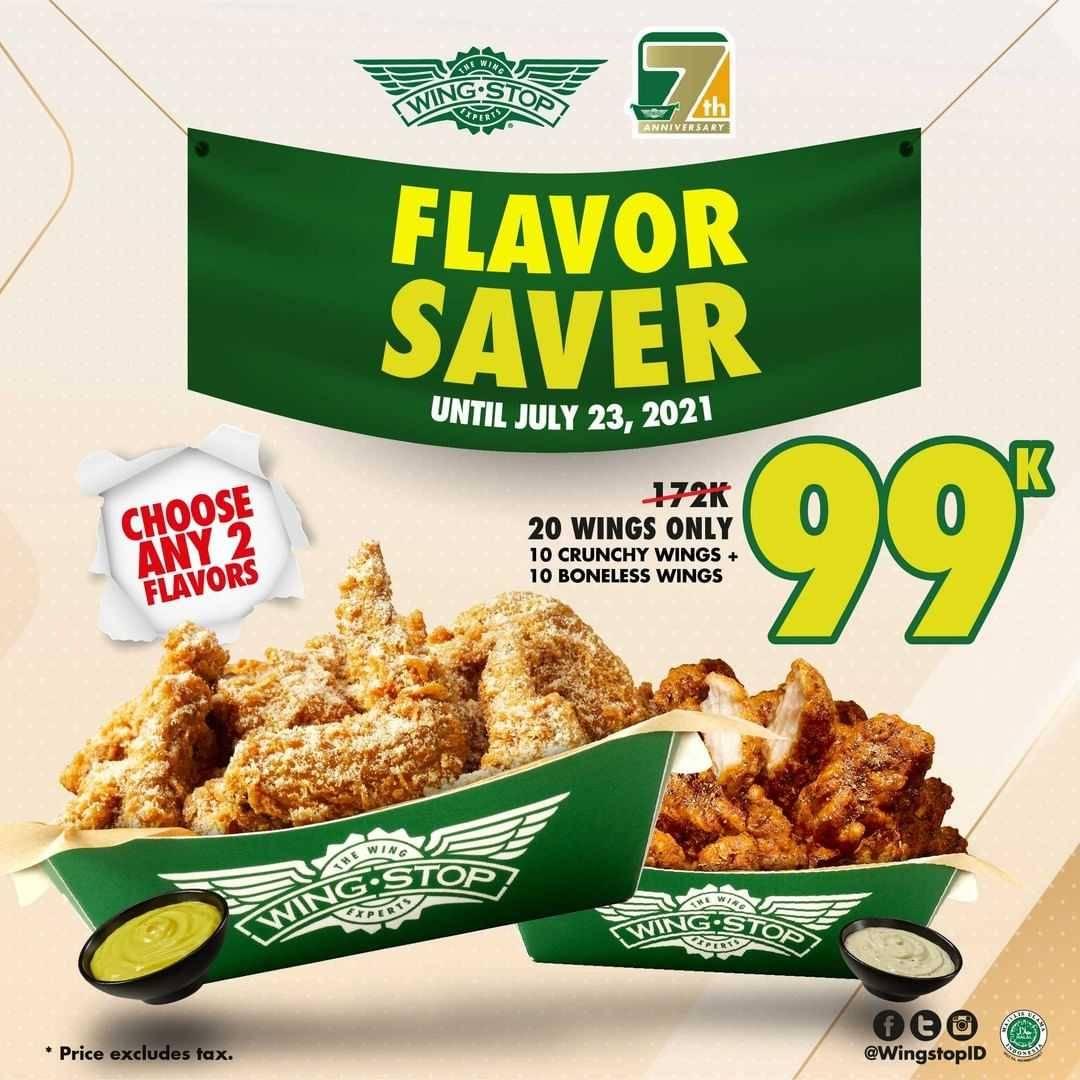 Diskon Wingstop Promo Flavor Saver Hanya Rp. 99.000