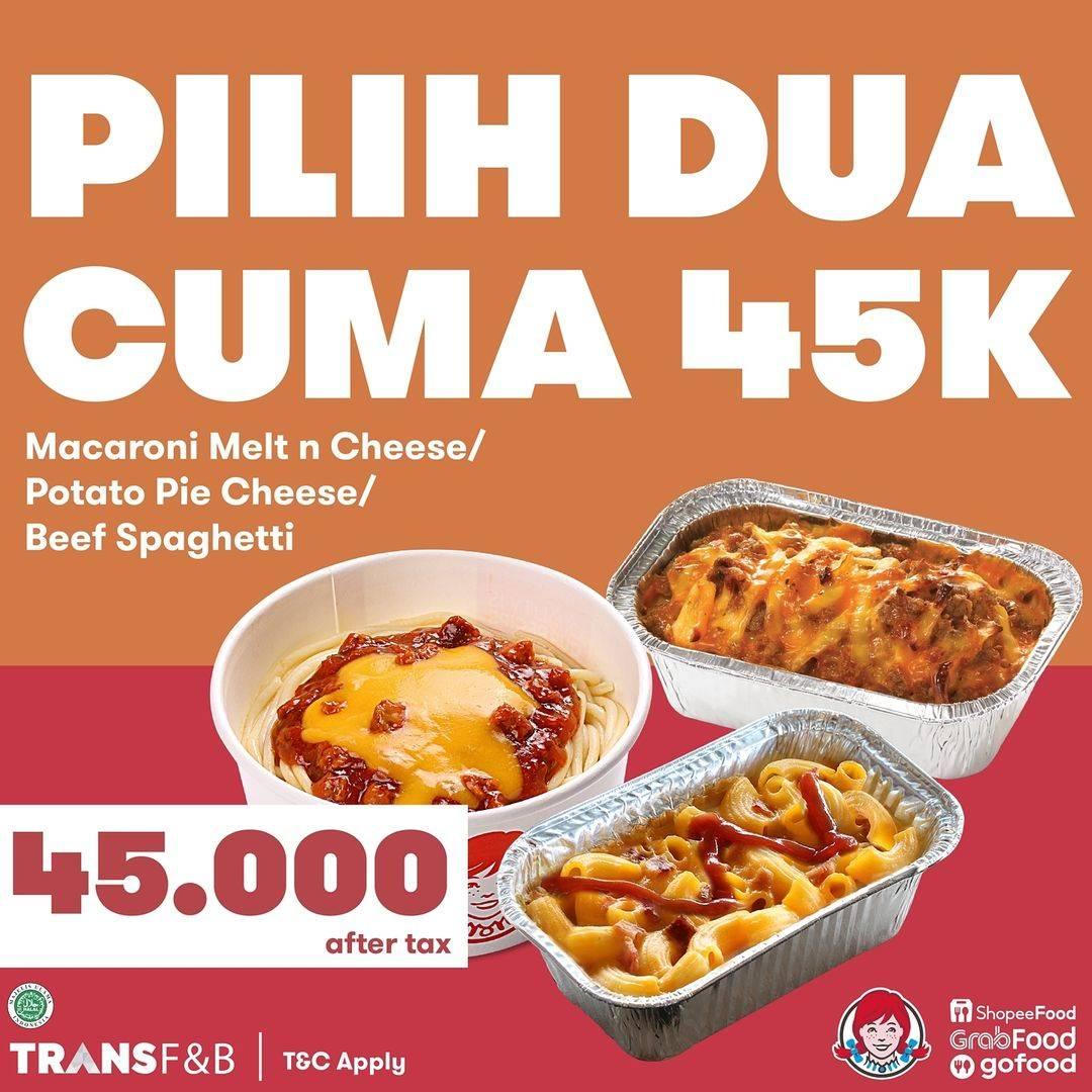 Diskon Wendys Promo Pilih 2 Menu Hanya Rp. 45.000