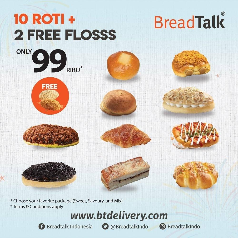 Diskon Bread Talk Beli 10 Roti Get Free 2 Flosss