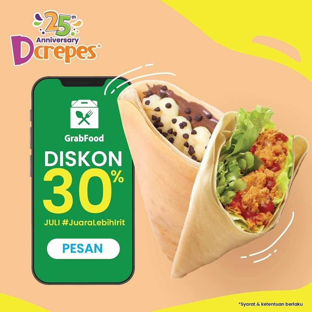 Diskon DCrepes Diskon 30% Dengan GrabFood