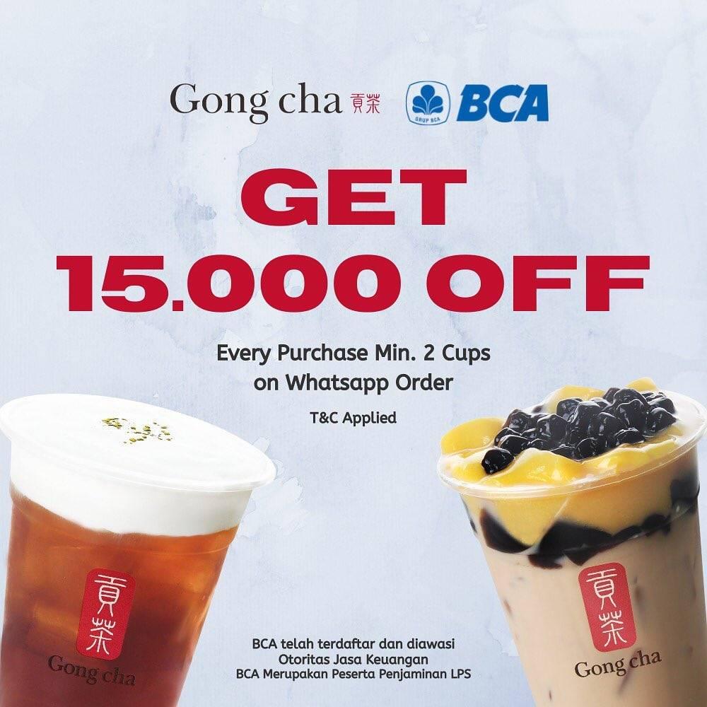Diskon Gong Cha Get Discount Rp. 15.000 Off