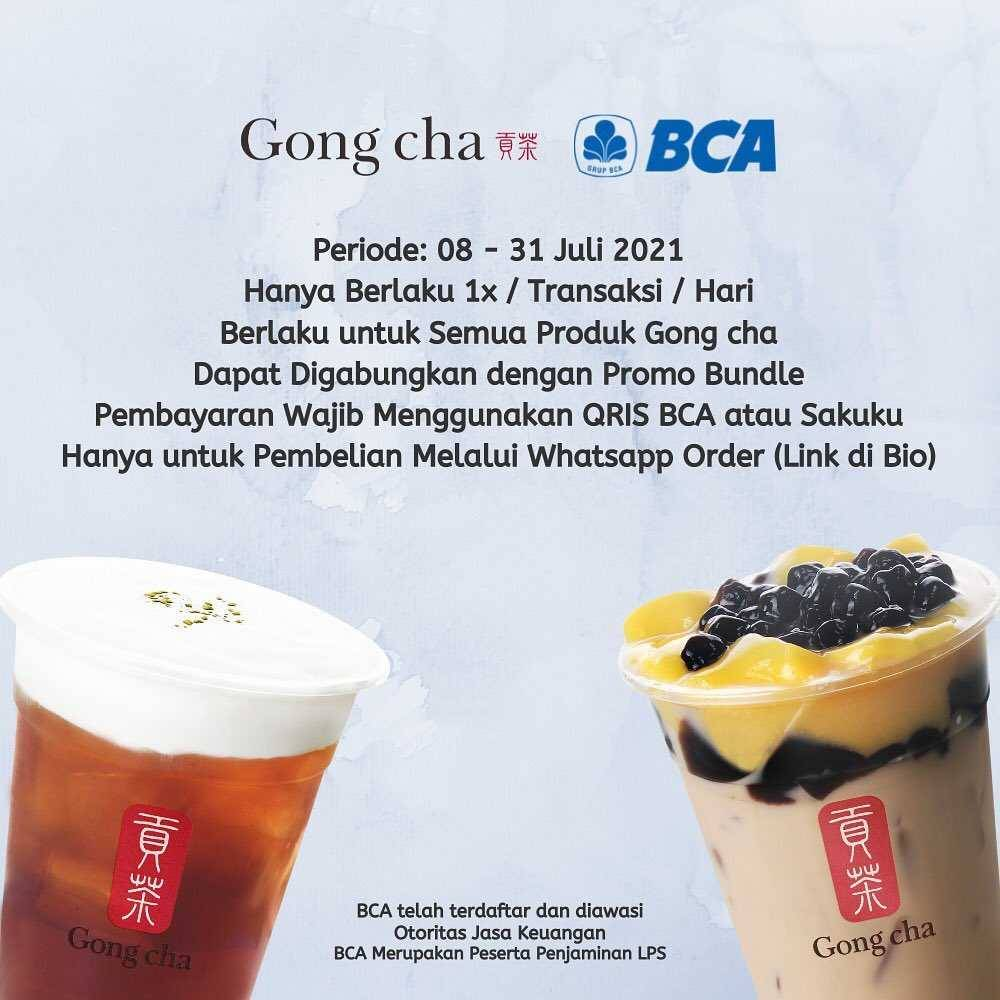 Promo diskon Gong Cha Get Discount Rp. 15.000 Off