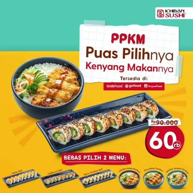 Diskon Ichiban Sushi Promo PPKM  Hanya Rp. 60.000