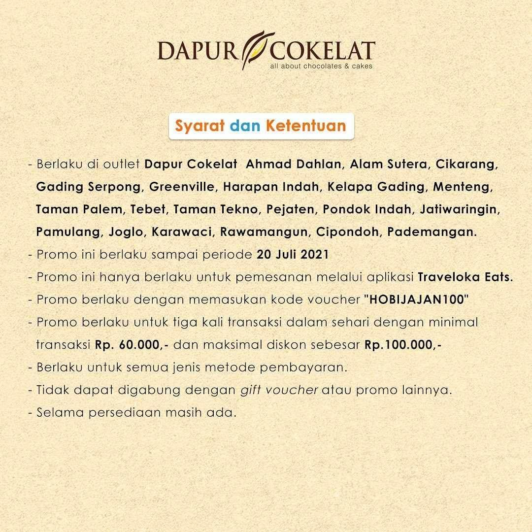 Promo diskon Dapur Cokelat Diskon 20% Dengan Traveloka Eats
