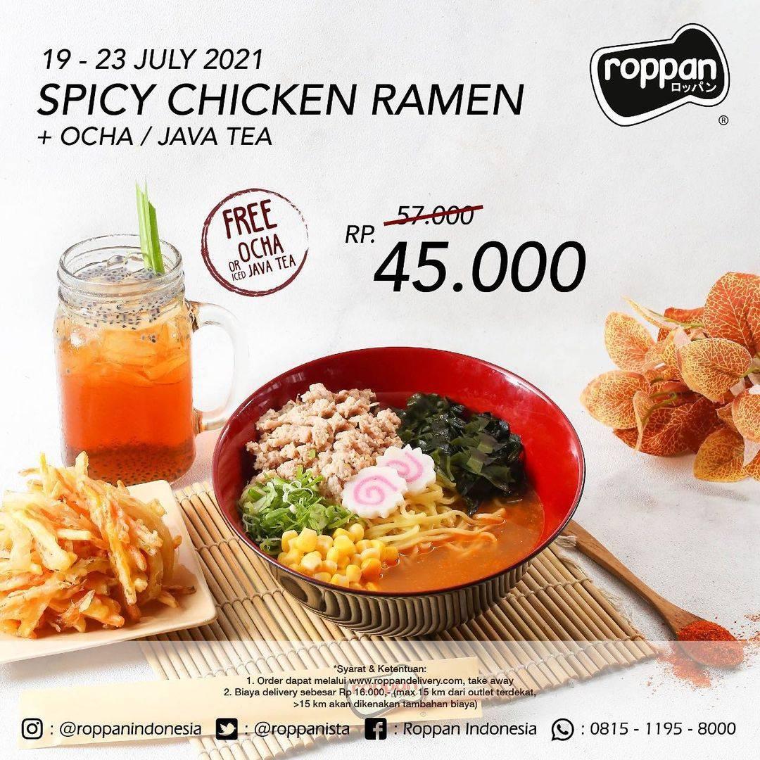Diskon Roppan Promo Spicy Chicken Ramen + Ocha Hanya Rp. 45.000